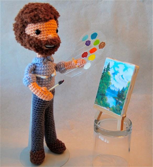 Bob Ross crochet doll