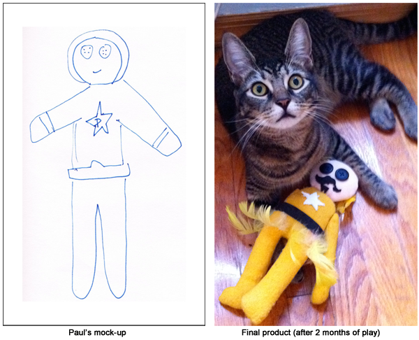 Peelander-Z doll - before & after
