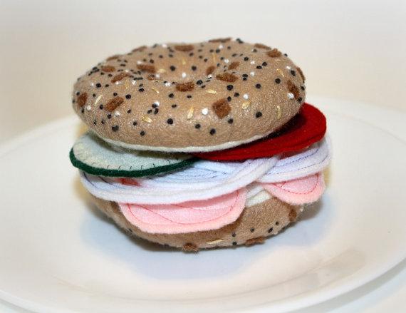 Felt food bagel sandwich