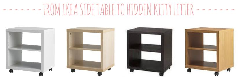 hidden kitty litter from Ikea side table
