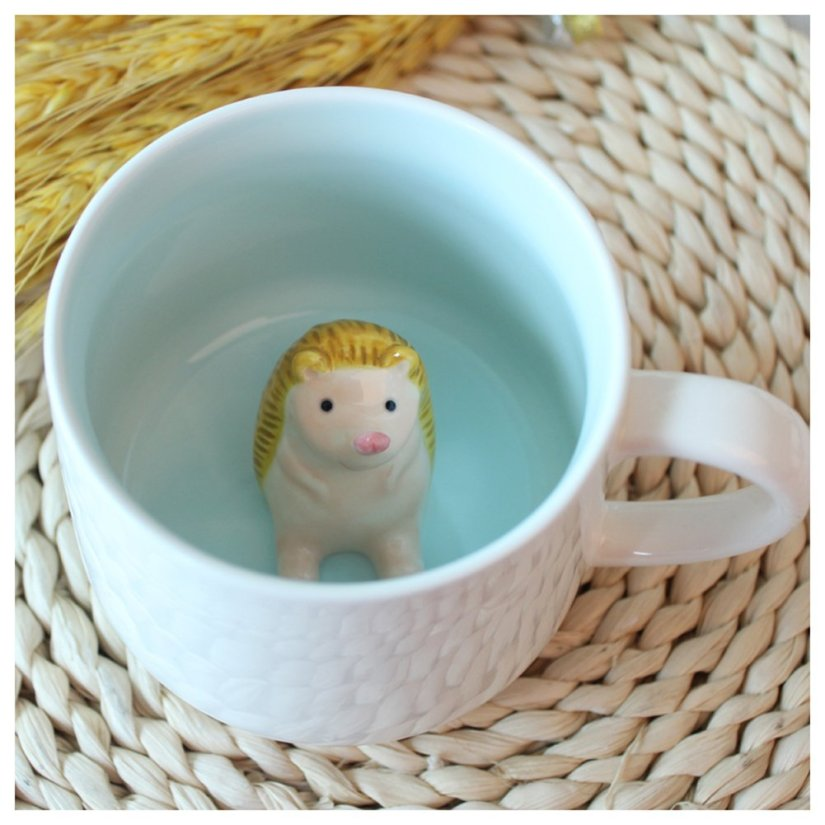 hedgehog figurine coffee cup