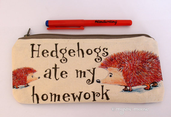 Mystic Moose hedgehog pencil case