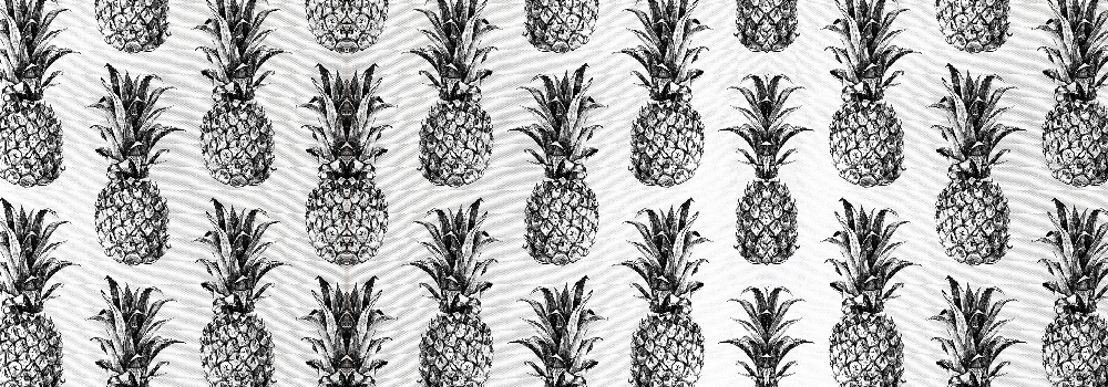 pineapple fabric in black and white
