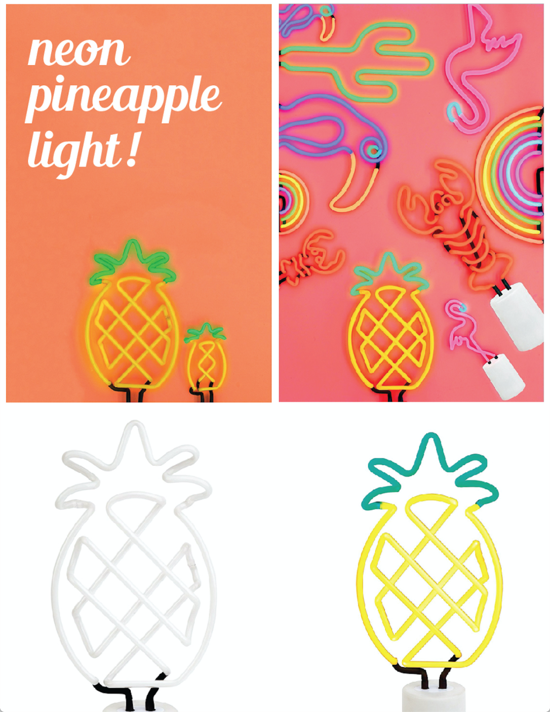 pineapple decor neon light