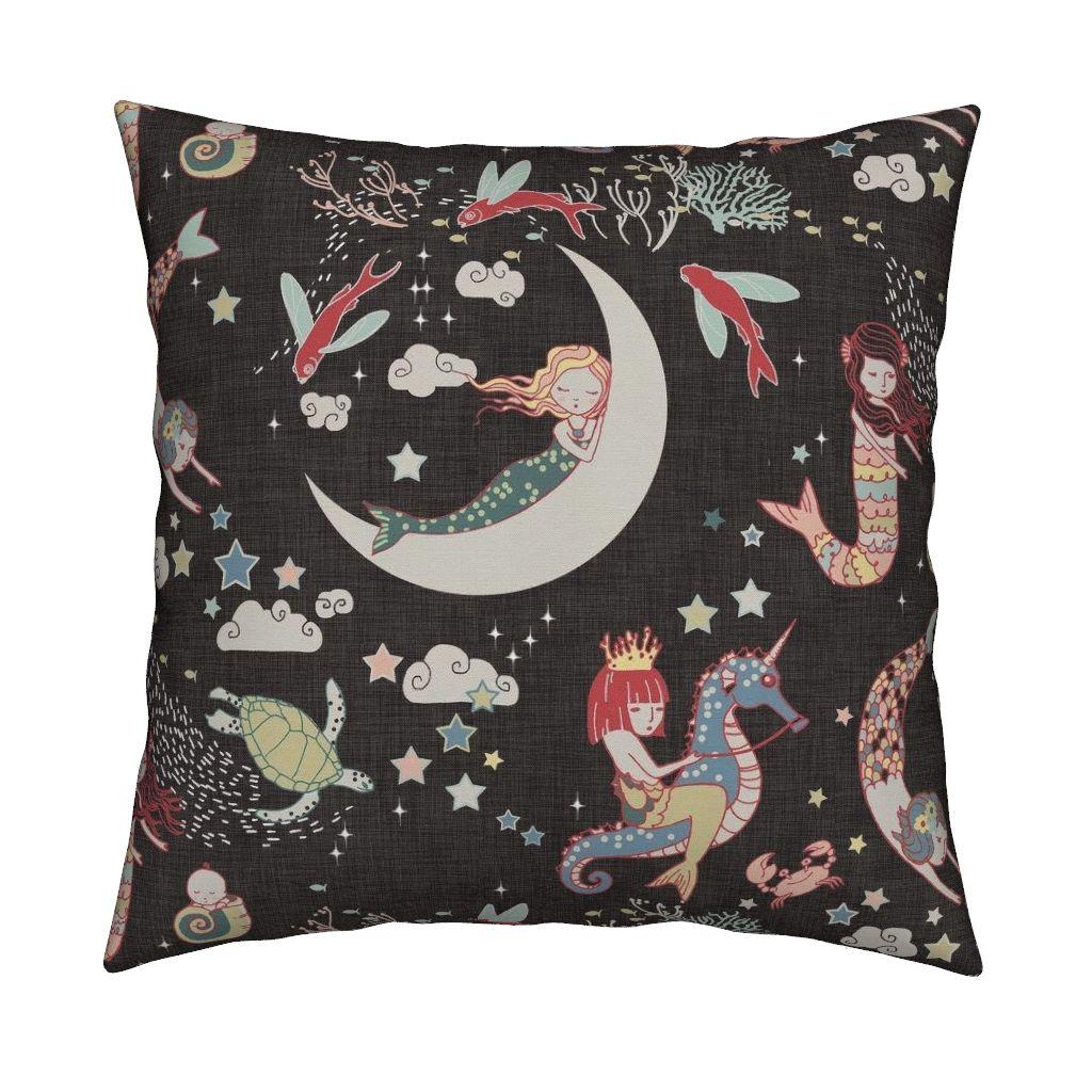 mermaid seahorse fabric pillow cushion