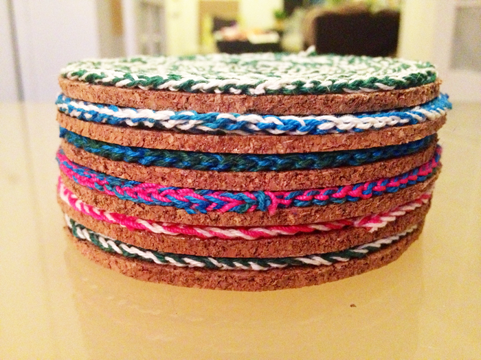 crocheted coaster stacked