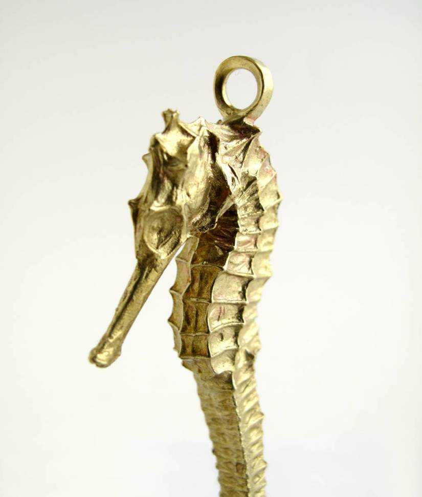 brass cast seahorse necklace