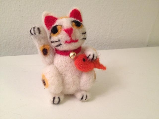 needle felted maneki neko lucky cat