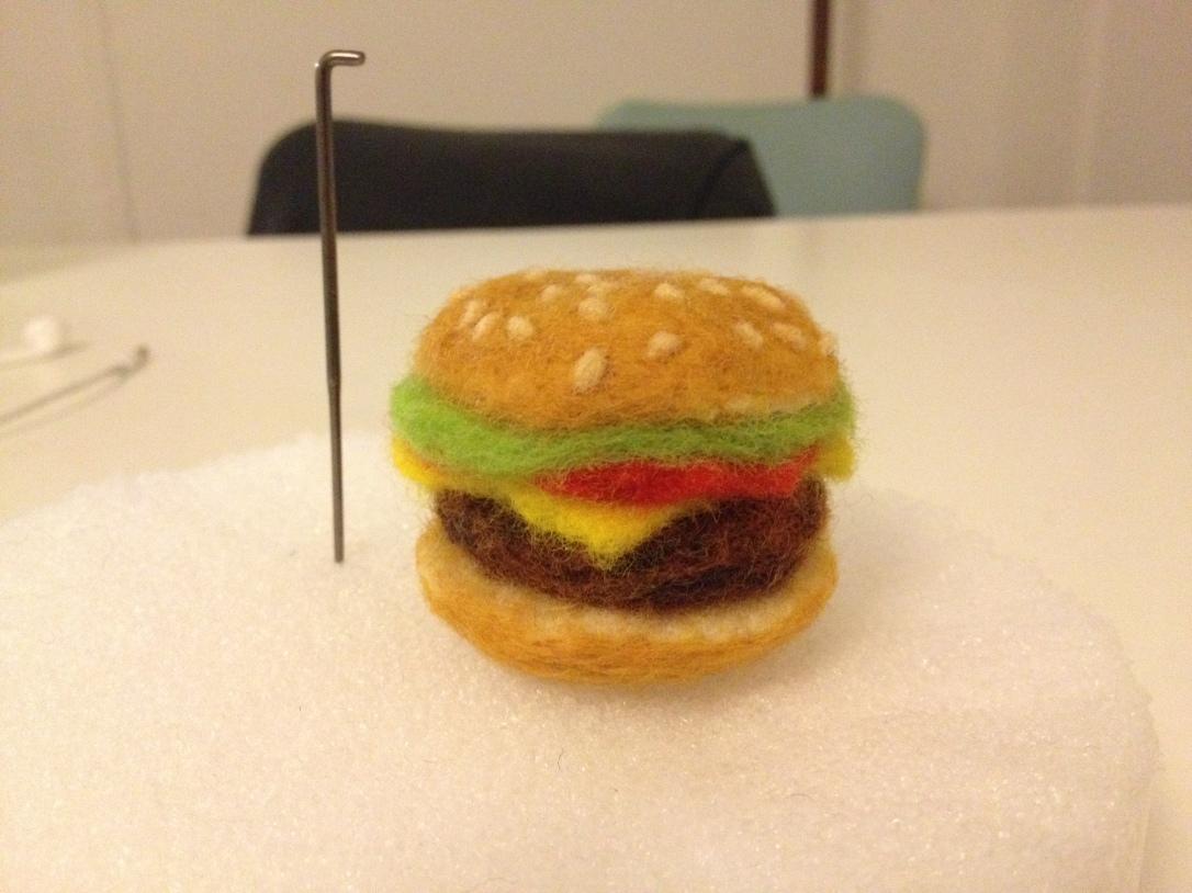 needle felted cheeseburger