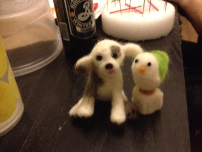 needle felted dog and chick