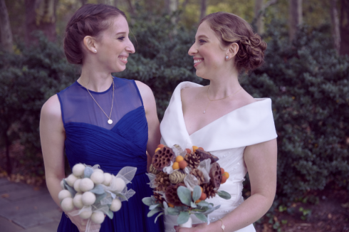 Hilary and Melissa with bouquets