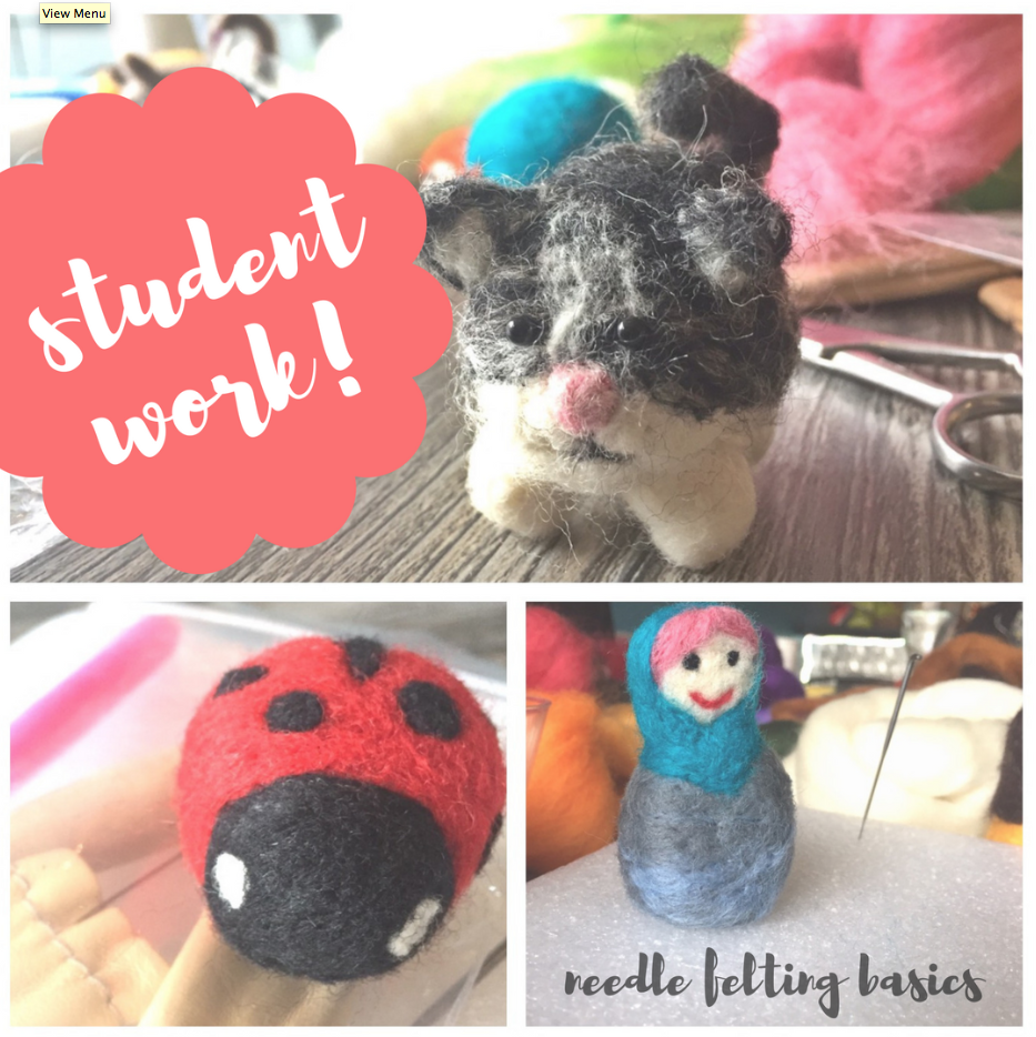 student needle felting work