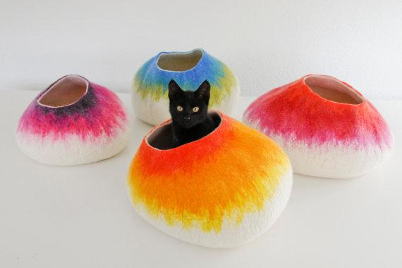 wool felt cat cave bed