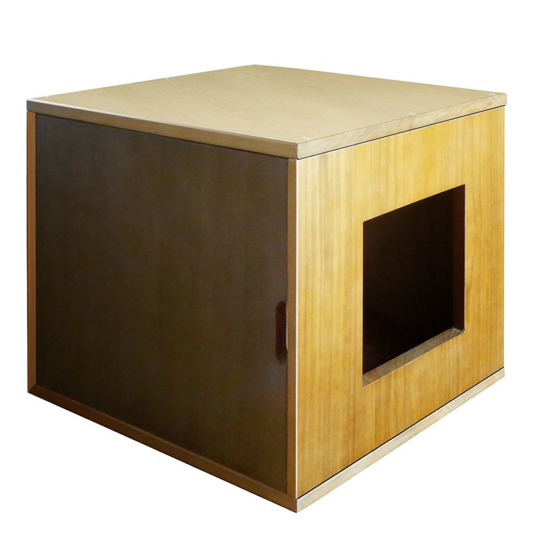 side entry to the Philociety Solid Natural Wood Cat Litter Box