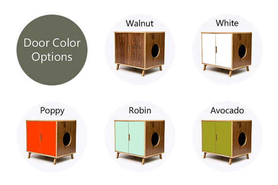 hidden litter box door color options