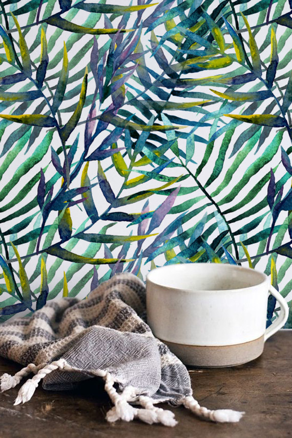 Tropical Watercolor Leaves Pattern from Wall Flora Shop