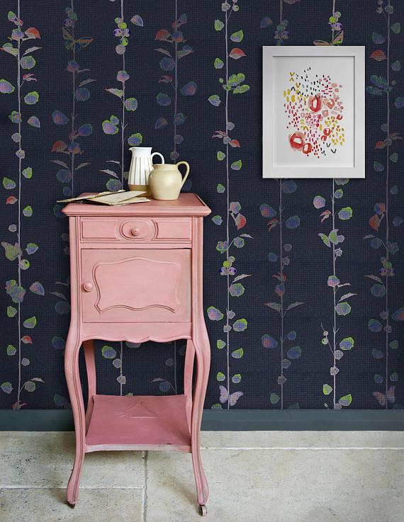 floral dark removable wallpaper